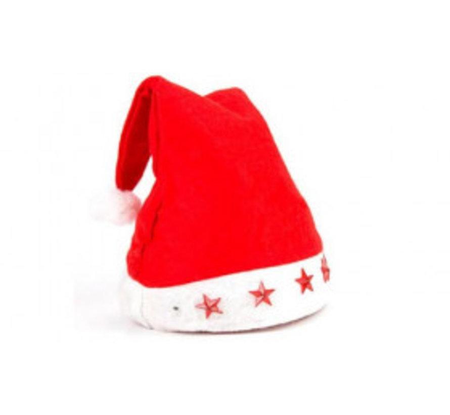 6 pcs Santa hats with 5 star lights | Red Santa Hat | Christmas
