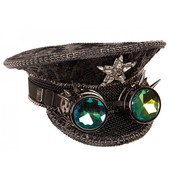 Partyline Black luxury captain's hat with steampunk holographic goggles | Rave hat | Concert hat