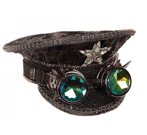 Partyline Zwarte luxe kapiteinshoed met steampunk holografische bril | Rave hoed | Concert hoed