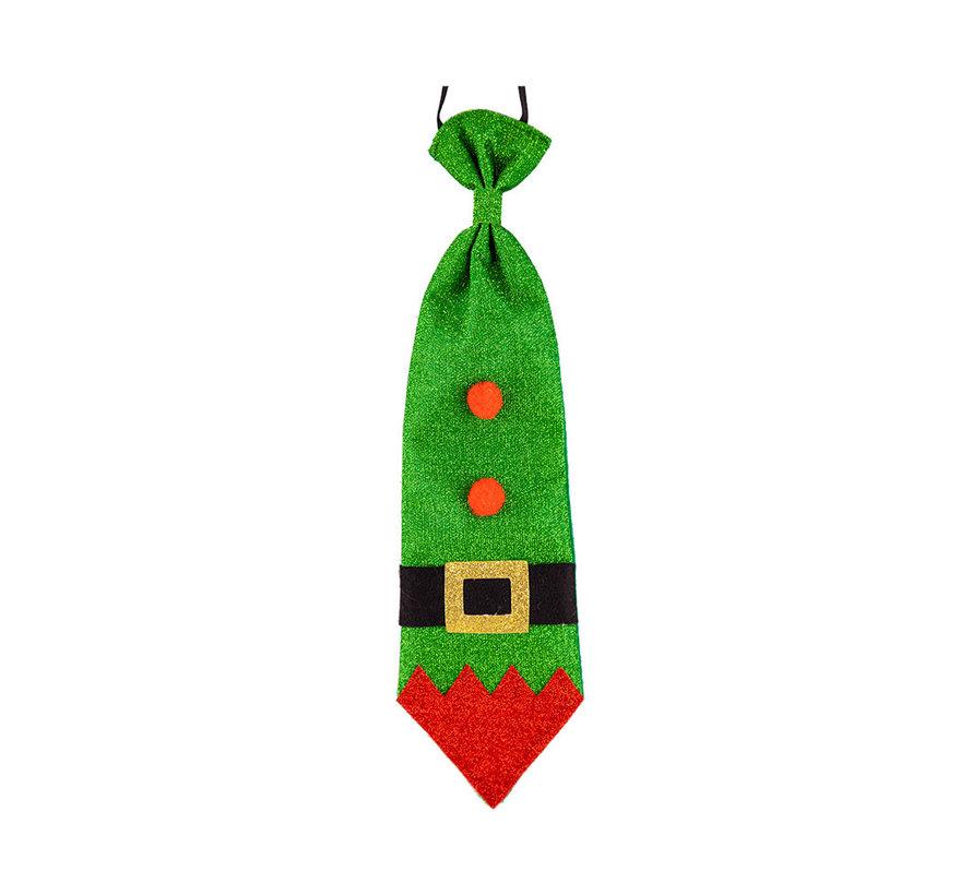 Kerstmis Glitter stropdas  - Das in groen glitter voor kerst