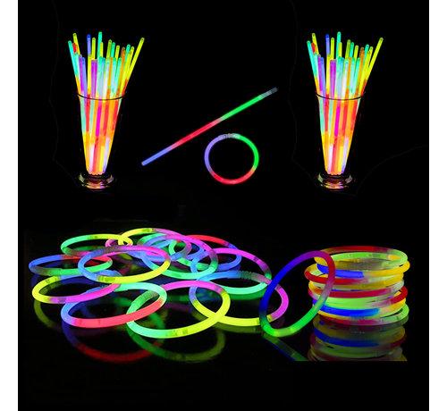 Breaklight.be Bracelets Tri-Color Mixed Glow 100 pièces + connecteurs | Bracelets lumineux