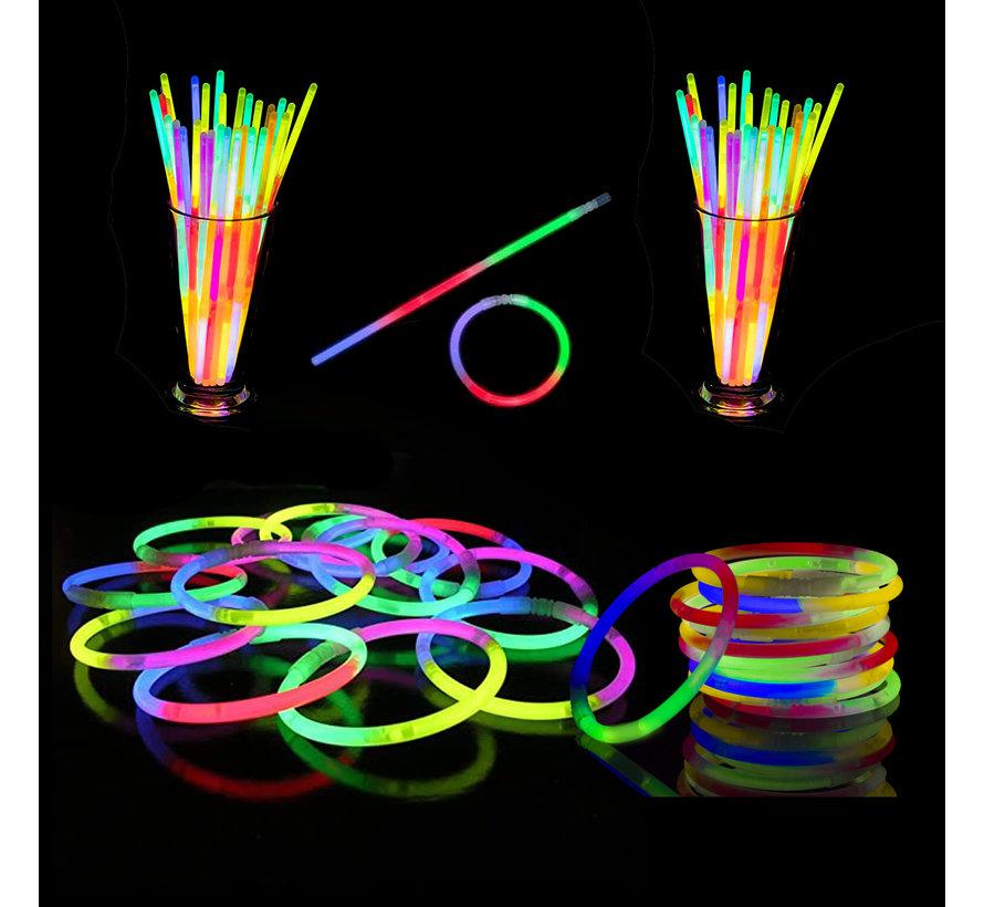 Tri-Color Mixed Glow bracelets 100 pieces + connectors   Luminous bracelets
