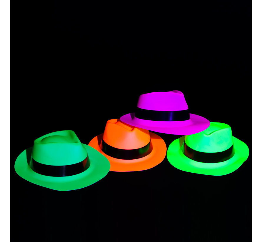 UV Neon gangster hats 4 pieces   UV parties