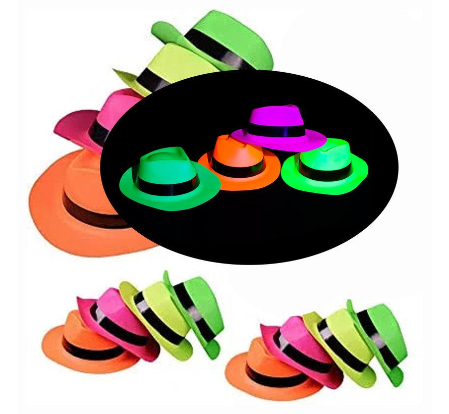 UV Neon gangster hoedjes  4 stuks  |  UV feestjes