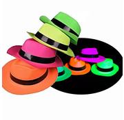 Partyline UV Neon gangster hoedjes  4 stuks  |  UV feestjes