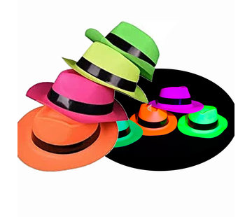 Partyline Chapeaux de gangster UV Neon 4 pièces - Adulte