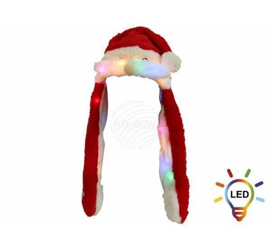 Luxueux chapeaux de noel en peluche avec 20 lumières LED | Moustache en mouvement