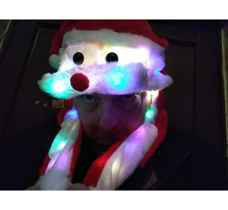 Luxurious Plush Santa Hat with 20 LED lights | Moving mustache