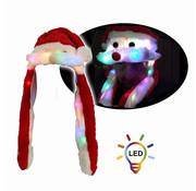 Breaklight.be Luxueux chapeaux de noel en peluche avec 20 lumières LED | Moustache en mouvement