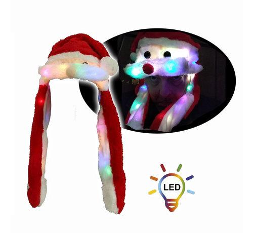 Breaklight.be Luxe Pluche Kerstmuts met 20 led lichtjes  | Bewegende snor
