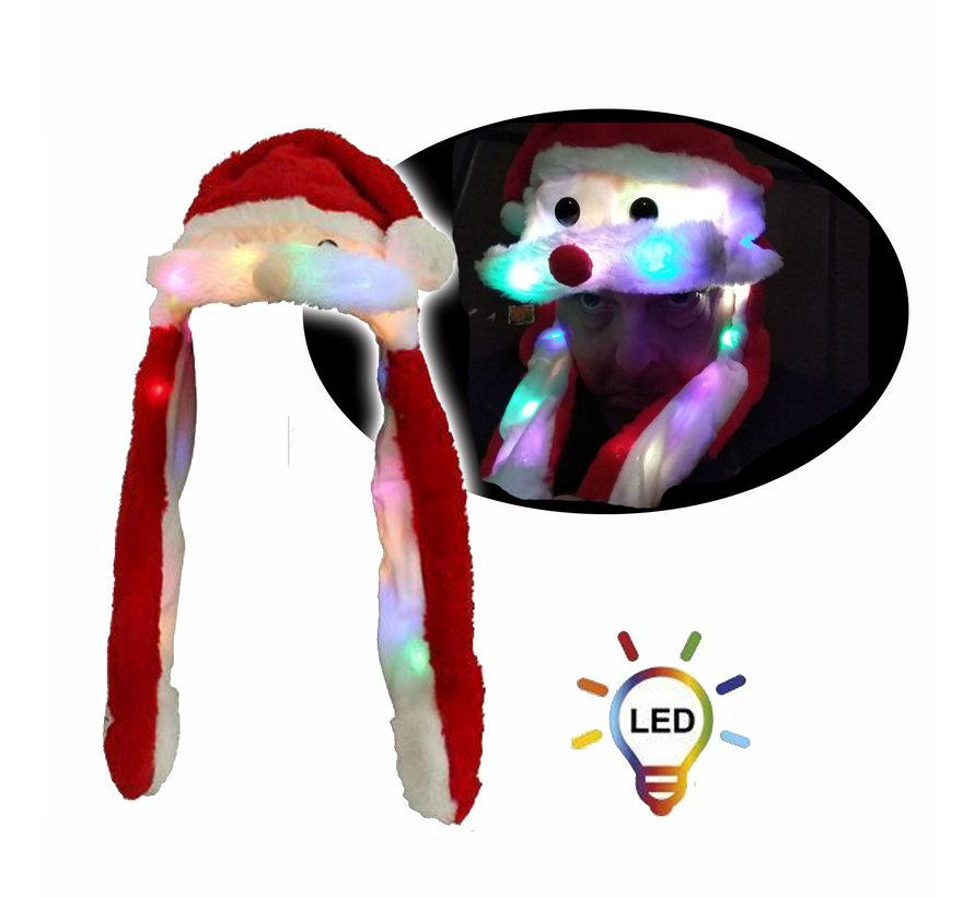 Luxe Pluche Kerstmuts met 20 led lichtjes  | Bewegende snor
