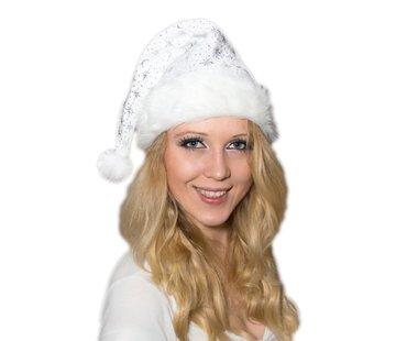 Breaklight.be Luxe witte Kerstmuts met bondrand en glitters