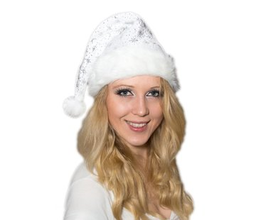 Breaklight.be Luxury white Santa hat with bond brim and glitter