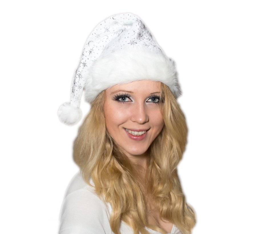 Luxe witte Kerstmuts met bondrand en glitters