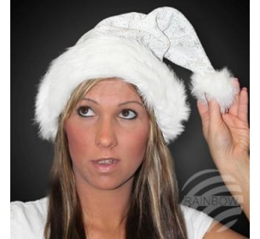 Luxury white Santa hat with bond brim and glitter