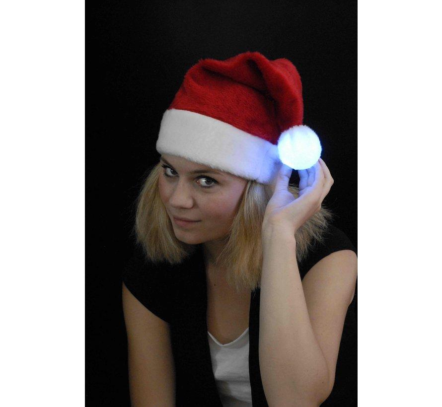 Chapeau de Père Noël rouge luxueux avec boule LED multicolore lumineuse