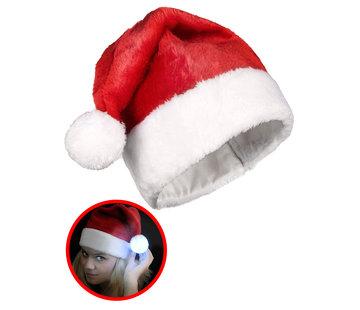 Breaklight.be Luxe Rode Kerstmuts met lichtgevende multicolor LED bal