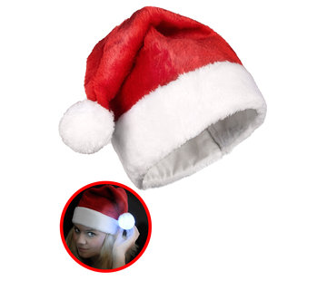 Breaklight.be Luxurious Red Santa Hat with luminous multicolor LED ball
