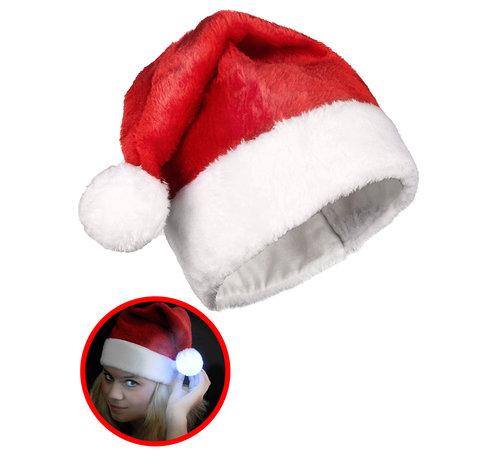 Breaklight.be Chapeau de Père Noël rouge luxueux avec boule LED multicolore lumineuse