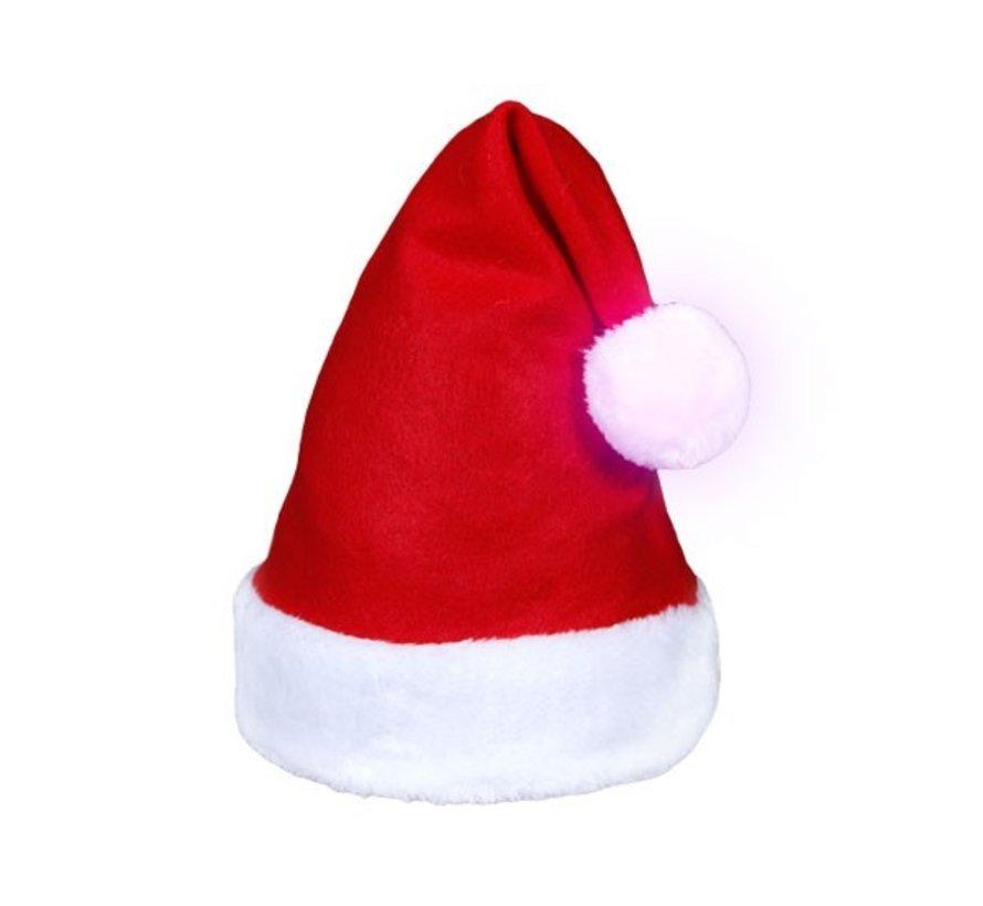 Luxe Rode Kerstmuts met lichtgevende multicolor LED bal