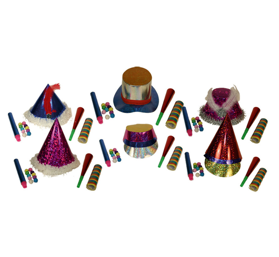 Feest Pakket 6 personen | Nieuwjaarspakket 4 accessoires per persoon