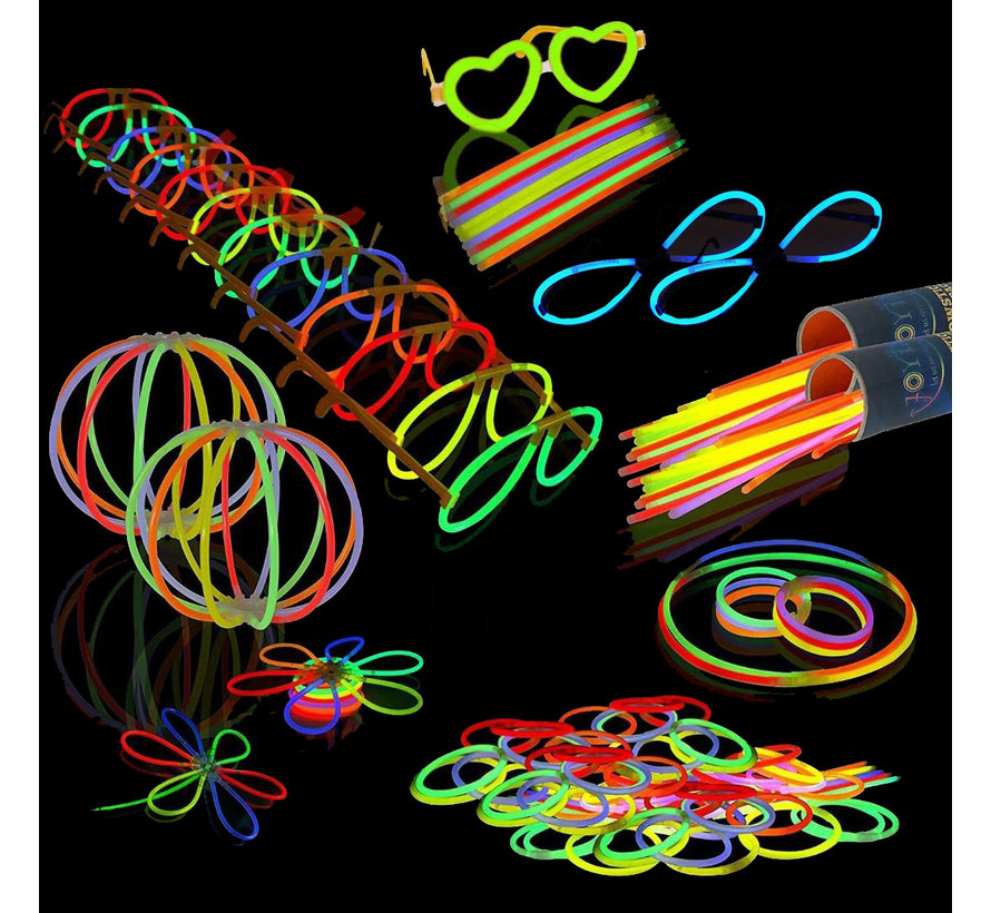 Breaklight  Bâtons Lumineux Fluorescents, Lot de 230 Pièces avec 100 Bracelets lumineux  et 130 Connecteurs pour faire des lunettes et des Bracelets