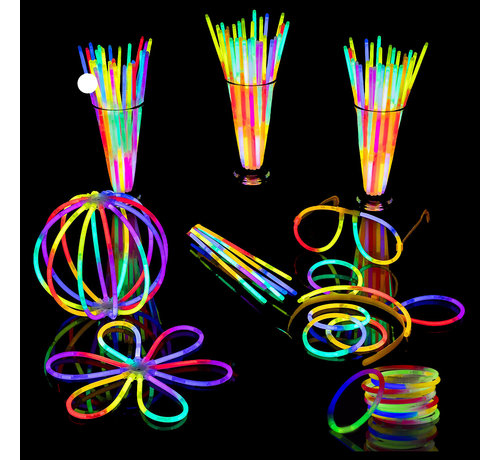 Breaklight.be Breaklight 215st Glow in the dark Premium Tri color Party pakket - Neon breaklights- Fluo Glow Pakket