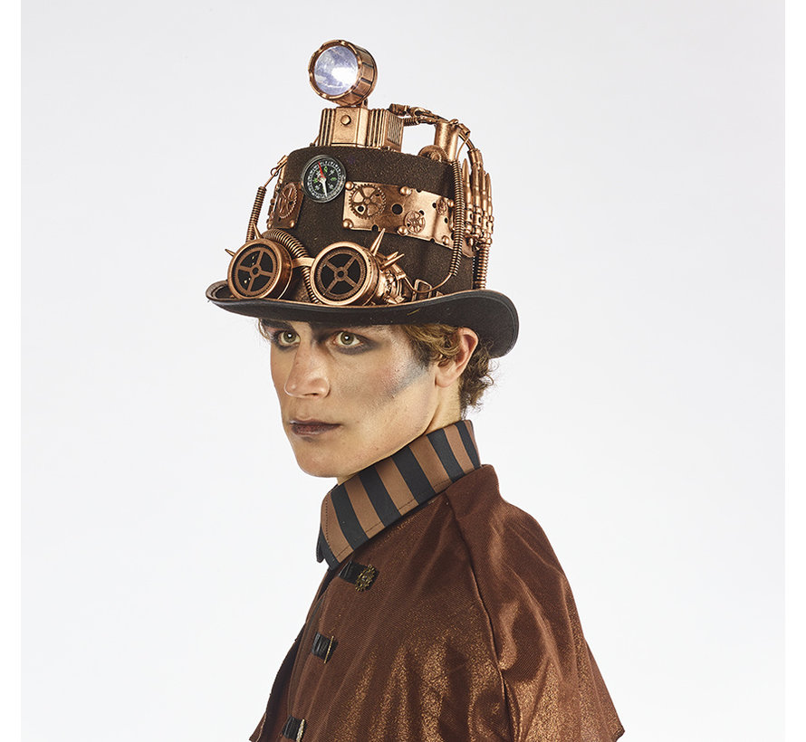 Chapeau de luxe Steampunk avec lampe   Chapeau de luxe rétro futuriste