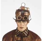Partyline Steampunk Luxe Hoed met lamp | Luxe Hoed retro futuristisch