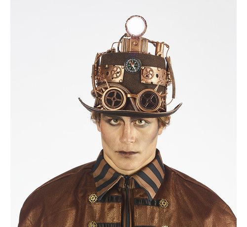 Partyline Chapeau de luxe Steampunk avec lampe   Chapeau de luxe rétro futuriste