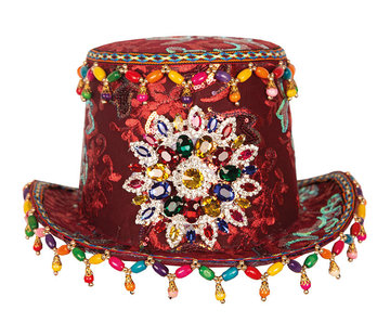 Partyline Luxury Fantasy Tube Hat | Top Hat Bordeaux with jewelery