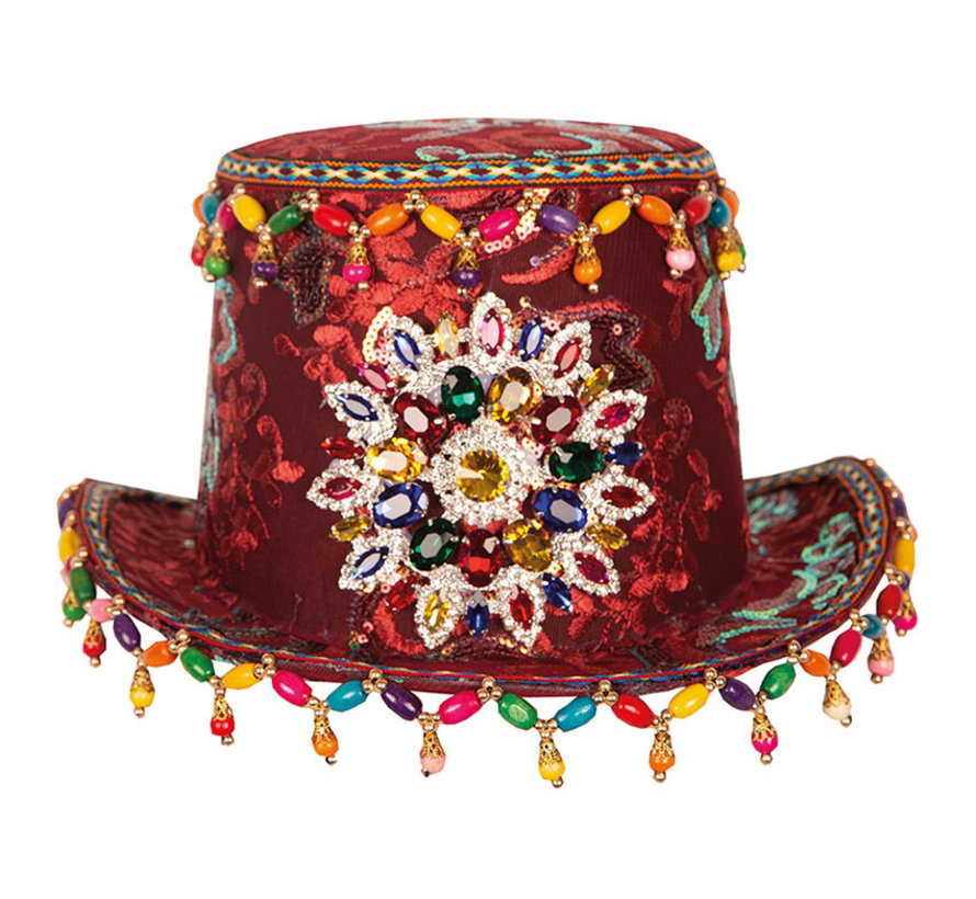 Luxury Fantasy Tube Hat | Top Hat Bordeaux with jewelery