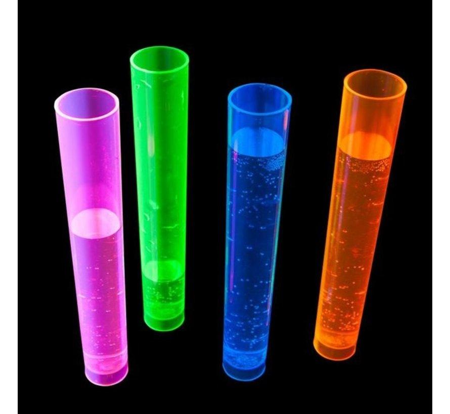 Neon Shot glass test tube - 20 pieces | Reusable plastic tube 45 ml | 4 colors