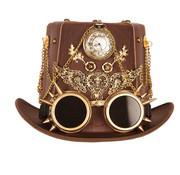 Partyline Chapeau de luxe Steampunk avec l'horloge | Chapeau de luxe rétro futuriste