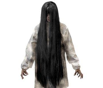 Widmann Black Evil pruik   Extra lange pruik 100 cm   Horror pruik