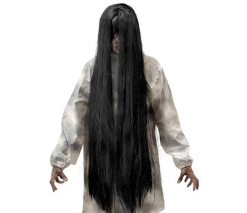 Widmann Black Evil wig | Extra long wig 100 cm | Horror wig