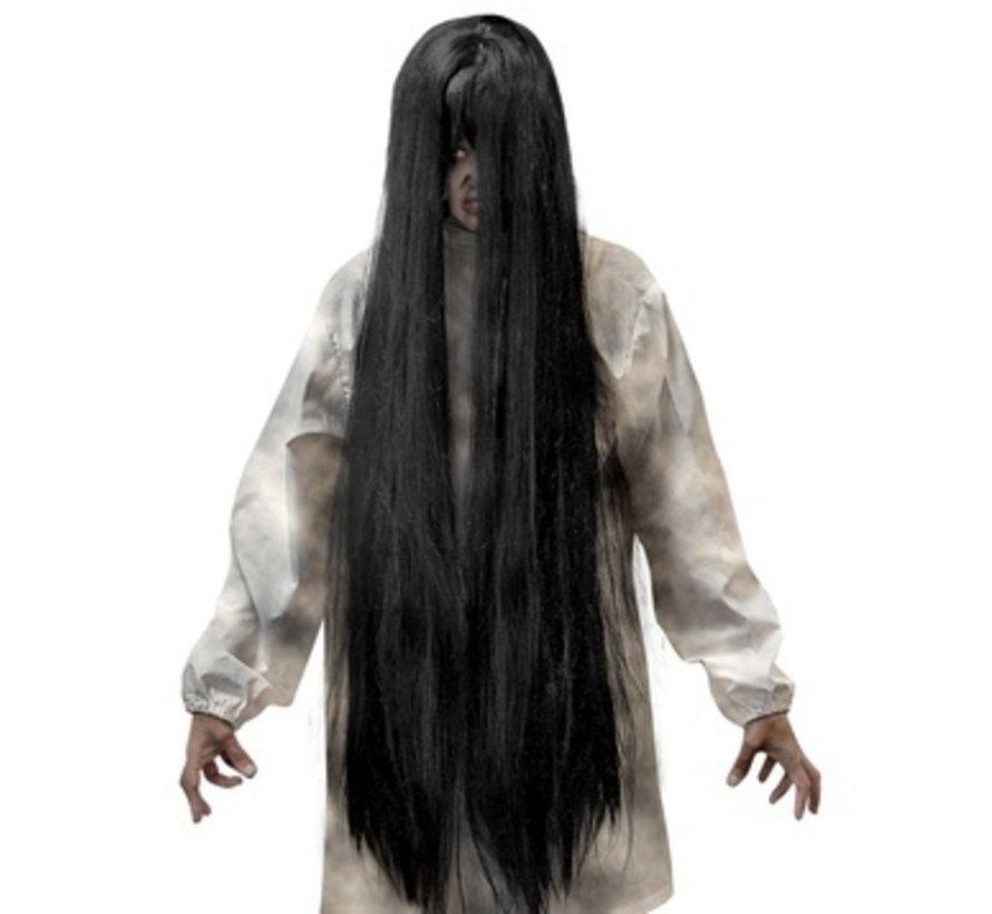Black Evil pruik | Extra lange pruik 100 cm | Horror pruik
