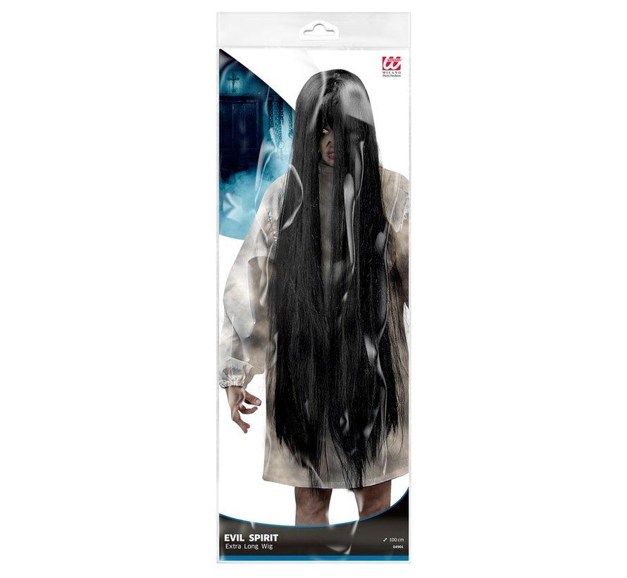 Black Evil wig | Extra long wig 100 cm | Horror wig
