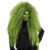 Widmann Perruque de sorcière verte  | Perruque surdimensionnée | Perruque d'horreur