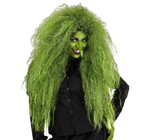Widmann Wilde groene heksenpruik   Extra grote pruik   Horror pruik
