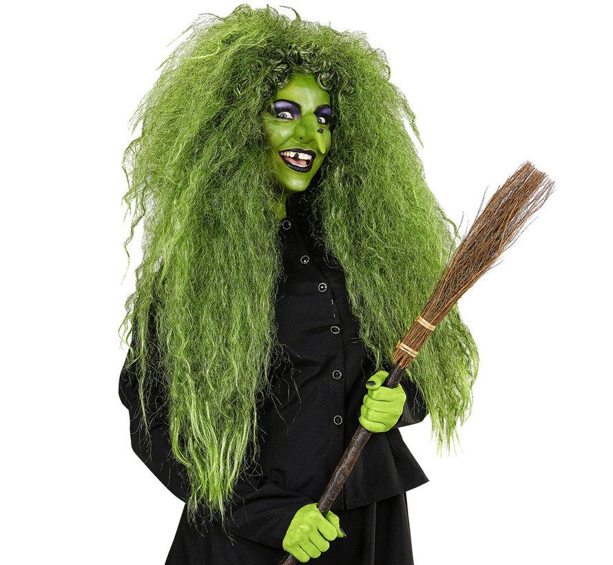 Wilde groene heksenpruik   Extra grote pruik   Horror pruik