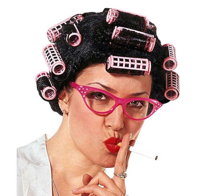 Wanhopige huisvrouwenpruik   Pruik met krulspelden   Zwarte pruik