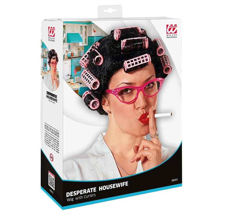 Desperate housewife wig | Wig with Curlers | Black Wig