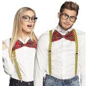 Partyline Nerd accessoires verkleedset | Nerd Bril,  Strik en Bretellen