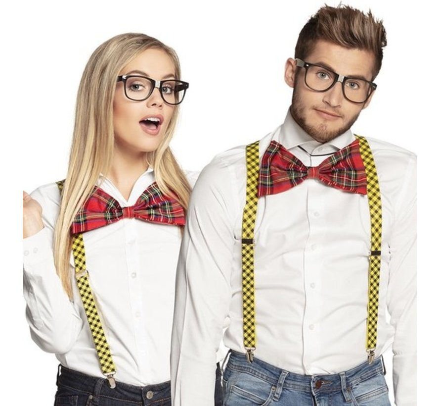 Nerd dress up set accessories | Nerd Glasses, Bow and Suspenders