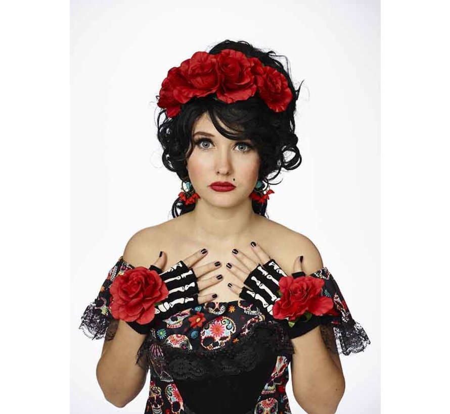 Day of the Dead accessories dress up set | Diadem, gloves, earrings