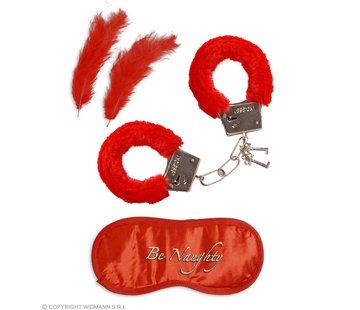 Widmann Set pour amoureux | menottes en fourrure, bandeau, 2 plumes