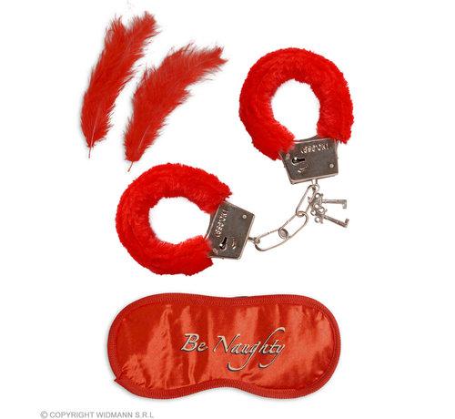 Widmann Set pour amoureux   menottes en fourrure, bandeau, 2 plumes