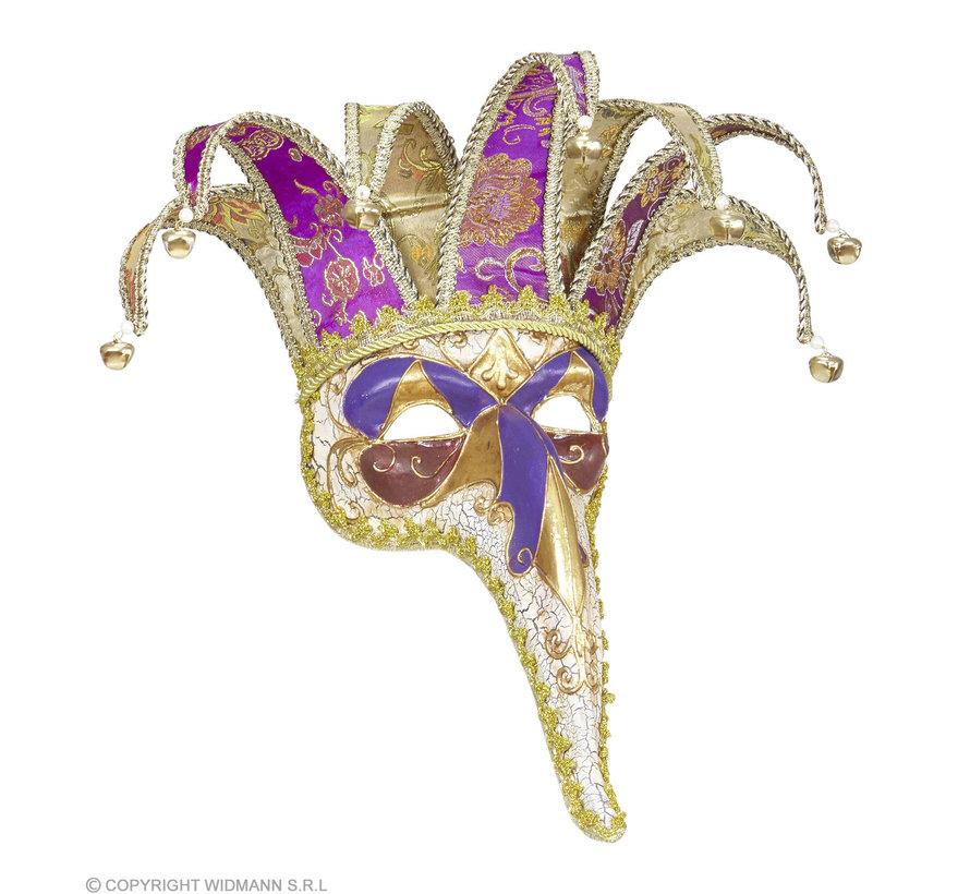 Venetiaans luxe masker met vrolijke lange neus | Venetiaans masker met belletjes