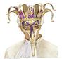Masque vénitien de luxe avec un long nez joyeux   Masque vénitien avec cloches
